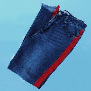 Francesca's Red Side Stripe Jeans